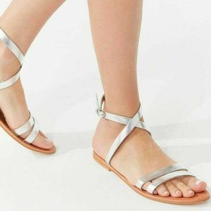 Metallic Strappy Leather Flats Cleo Wrap Sandals